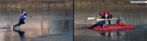 Lód załamał się pod łyżwiarzem. Wyciągnęli go ratownicy