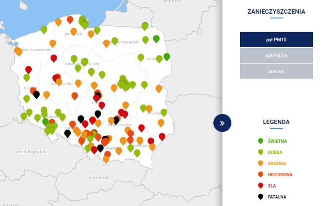 Stężenie pyłu PM10 o godzinie 19 (tvnmeteo.pl za GIOŚ)