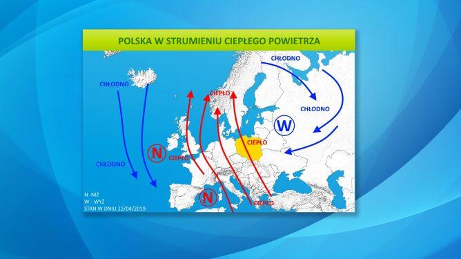 Polska w strumieniu ciepłego powietrza
