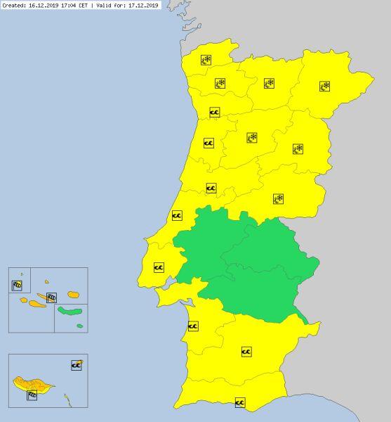Ostrzeżenia meteorologiczne dla Portugalii na wtorek (meteoalarm.eu)