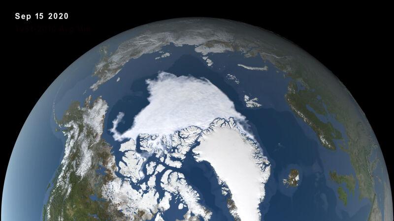 Wizualizacja Oceanu Arktycznego w dniu 15 września 2020 roku (NASA's Scientific Visualization Studio)
