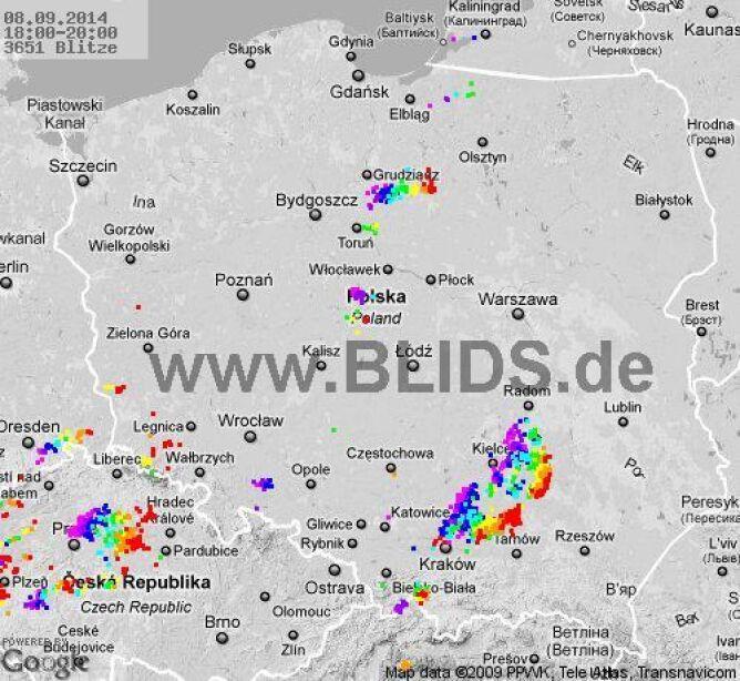 Wyładowania atmosferyczne w Polsce stan na godz. 18.00-20.00