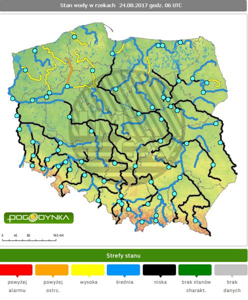 Stan rzek w czwartek o godzinie 6 (IMGW)