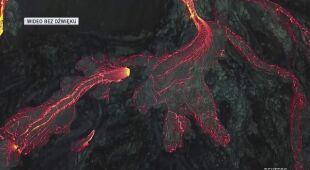 Ze szczeliny wulkanu Fagradalsfjall wydostaje się lawa